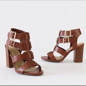 Sz 6.5 aunt tan cage t-strap heel sandal